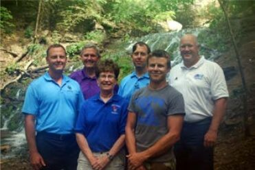 (pictured front to back, left to right) Ben Grimstad, CEO, Decorah Bank & Trust; Cindy Albers, Vice Chair, Decorah Parks & Rec Board; Jeff O'Gara, Decorah Parks & Rec Board; Rich Gaard, Chair, Decorah Parks & Rec Board; Joe Grimstad, COO, Decorah Bank & Trust; Andy Nimrod, Director, Decorah Parks and Recreation. Board members not pictured: Kathy Bakken, Shirley Vermace