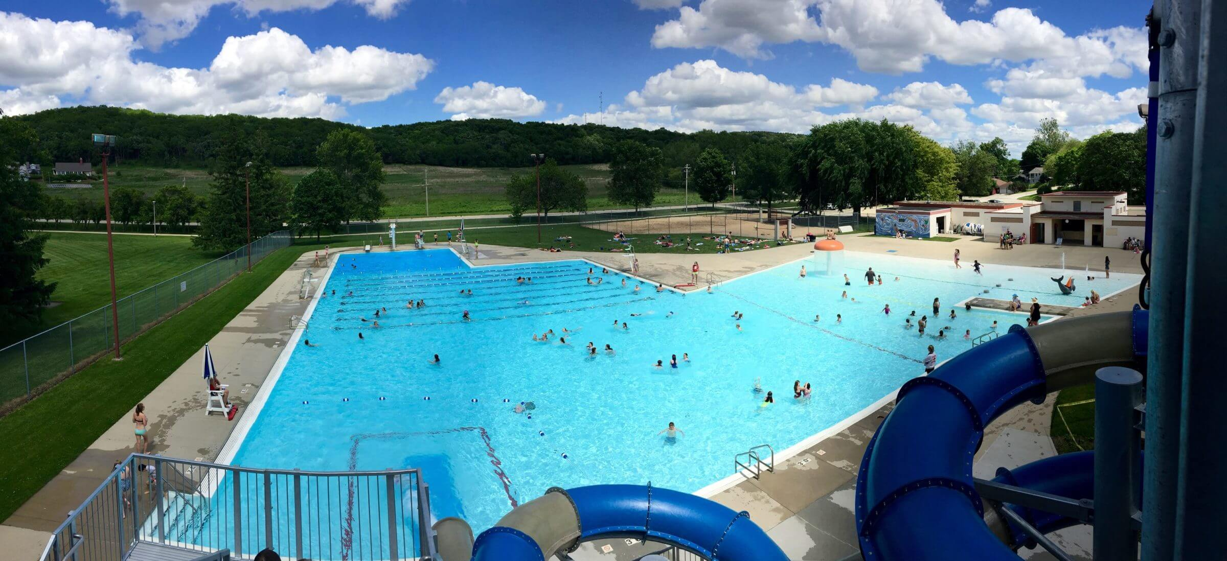 Panoramic view of the swimming pool from the top of the water slide.