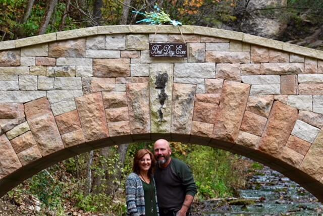 Wedding Couple by Dunning's Spring Arch Bridge