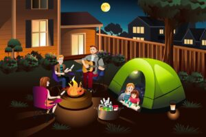 Clipart photo of family camping in backyard