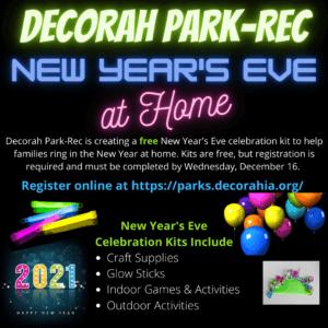 Decorah park-Rec New Year's Eve at Home